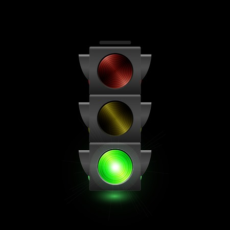 Illustration of a traffic light with green light on.