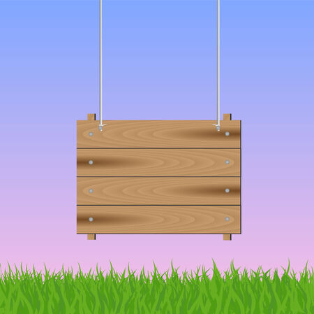 Illustration of a hanging wooden sign with grass and sky. Stock Illustratie