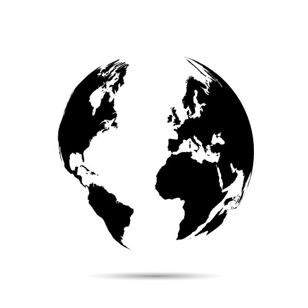Illustratie van een kaart van de wereld geà ¯ soleerd op een witte achtergrond.