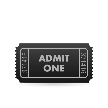Illustration of an admit one ticket isolated on a white background.