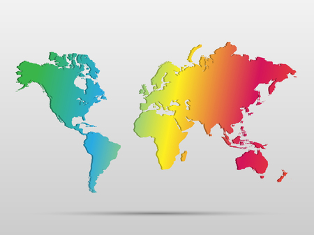 Illustration of a colorful world map isolated on a white background. Vector