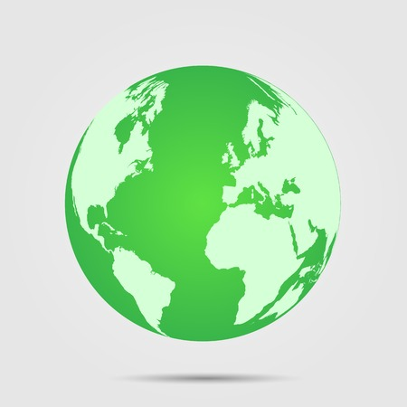 Illustration of a green world globe isolated on a light background. Ilustrace