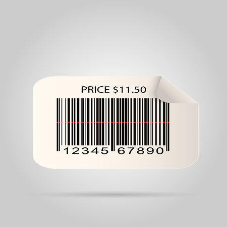 Illustration of a paper barcode sticker isolated on a white background. Vector