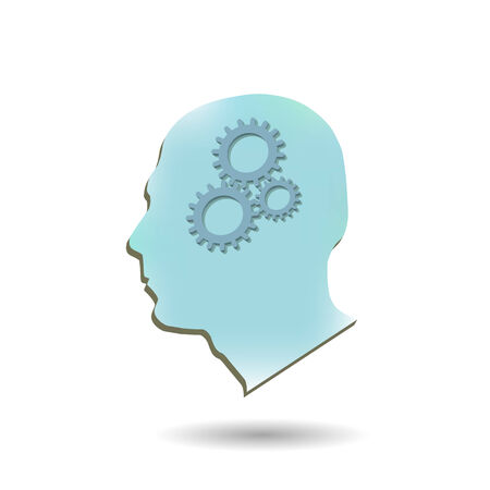 Illustration of gears inside of a head isolated on a white background. Vector