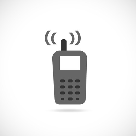 Illustration of a cell phone silhouette isolated on a white background.
