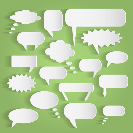 Illustration of various paper chat bubbles against a colorful background.
