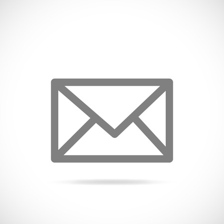 email icon: Illustration of a silhouette of an email symbol isolated on a white background.