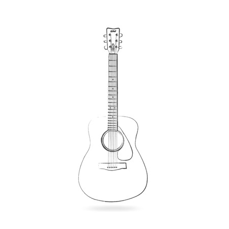 Drawing of an acoustic guitar isolated on a white background.
