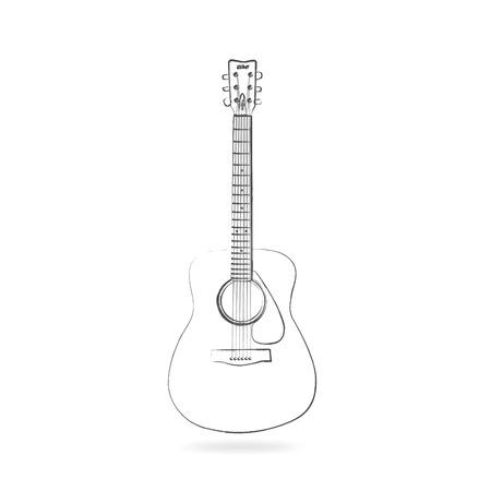 frets: Dibujo de una guitarra ac�stica aislado en un fondo blanco.