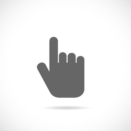 Illustration of a hand pointing isolated on a white background. Vector