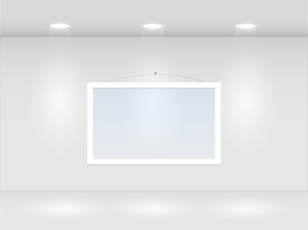 art gallery interior: Illustration of a room with lights and hanging frame. Illustration