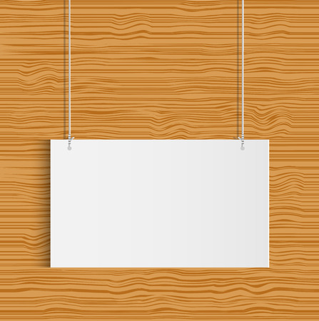 Illustration of a hanging sign against a wood texture background.