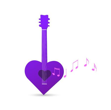 frets: Ilustraci�n de una guitarra coraz�n abstracto aislado en un fondo blanco.