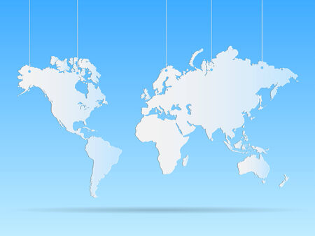 Illustration of a hanging world map on a colorful background.