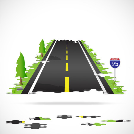 Illustration of a highway made with puzzle pieces isolated on a white background. Illustration