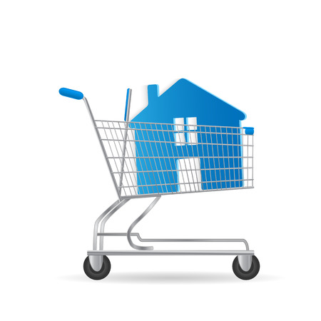 Illustration of a house inside a shopping cart isolated on a white background. Vector