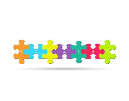 work piece: Illustration of colorful puzzle pieces isolated on a white background.