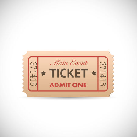Illustration of a vintage Admit One ticket isolated on a white background. Illustration