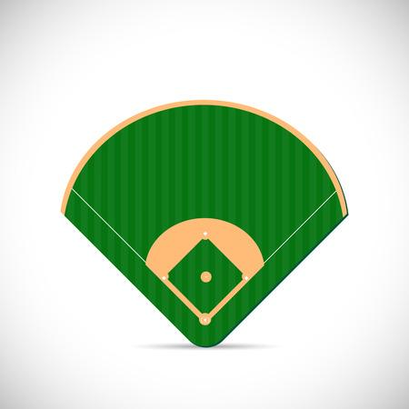champ vert: Illustration d'une conception de terrain de baseball isol� sur un fond blanc.