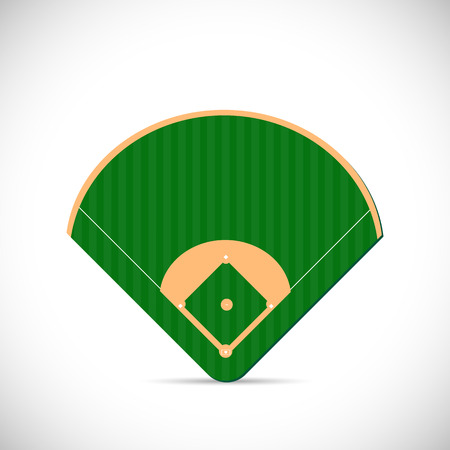 Illustration of a baseball field design isolated on a white background. Vector