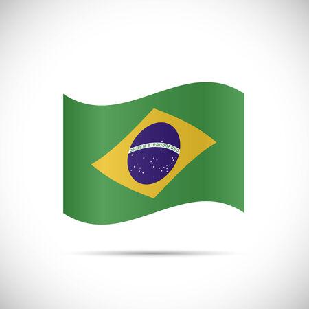 브라질의 국기의 그림 흰색 배경에 고립입니다. 일러스트