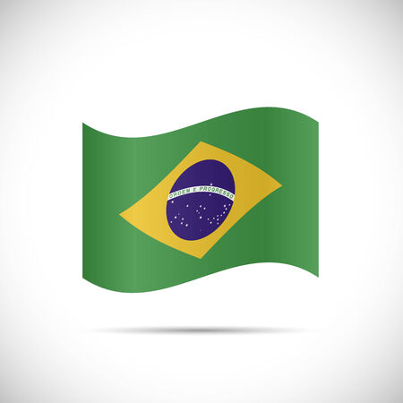 Illustration of the flag of Brazil isolated on a white background.