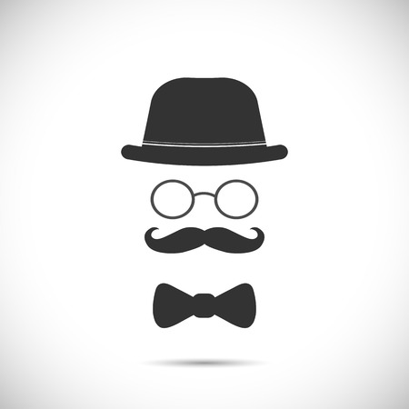 Illustration of a hat, glasses, mustache and bow tie design isolated on a white background. Illustration