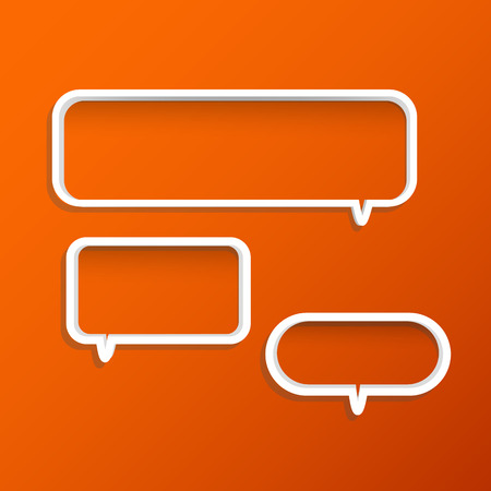 chat room: Illustration of chat bubble shelves on a colorful orange background. Illustration