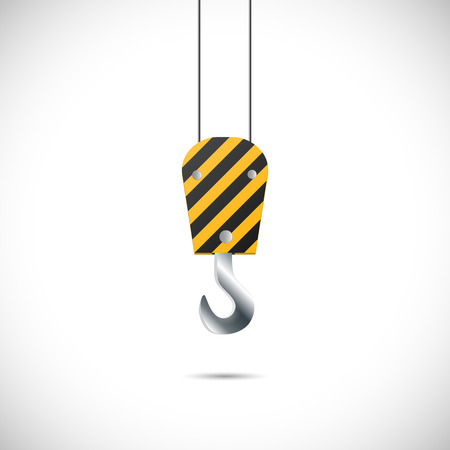 crane parts: Illustration of a construction hook isolated on a white background.