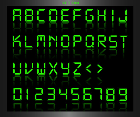 Illustration of a colorful green digital font. Stock Illustratie