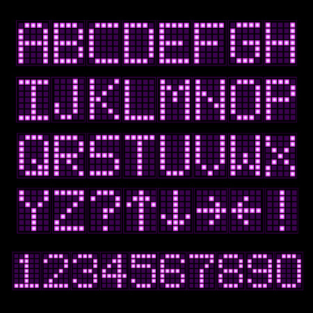 neon sign: Illustration of a colorful pink digital font set.