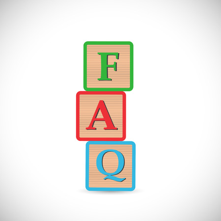 Illustration of blocks spelling FAQ isolated on a white background. Vector