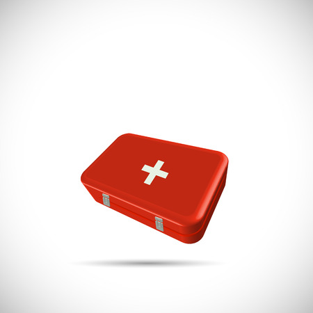 medicine box: Illustration of a first aid kit isolated on a white background. Illustration