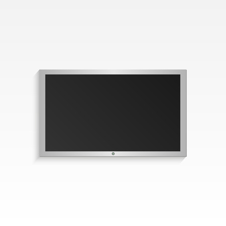 Illustration of hanging flat-panel television on a light background. Vector