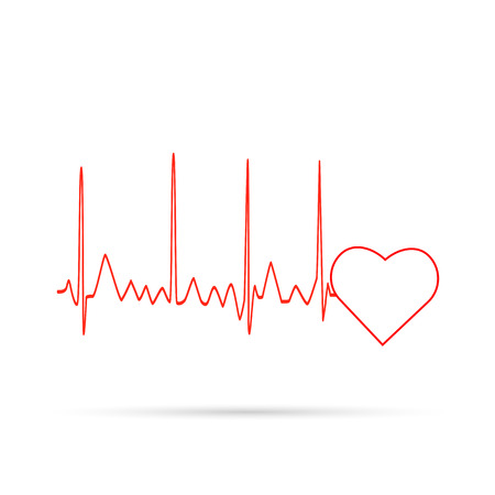 Illustration of an electrocardiogram wave and heart isolated on a white background.