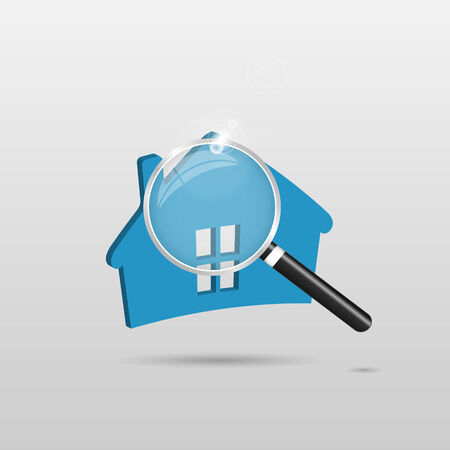 Illustration of a blue house and magnifying glass isolated on a light background.