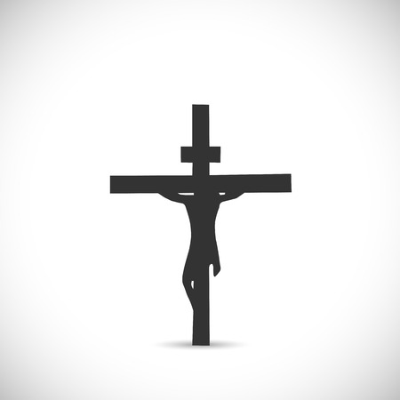 白い背景で隔離の十字架上のイエスのシルエット イラスト。
