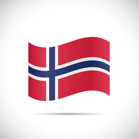 白い背景に分離されたノルウェーの国旗のイラスト。