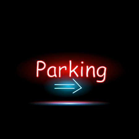 24 hours: Illustration of a Parking neon sign against a dark background.