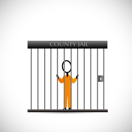 jailbird: Illustration of a prisoner inside of a jail isolated on a white background.