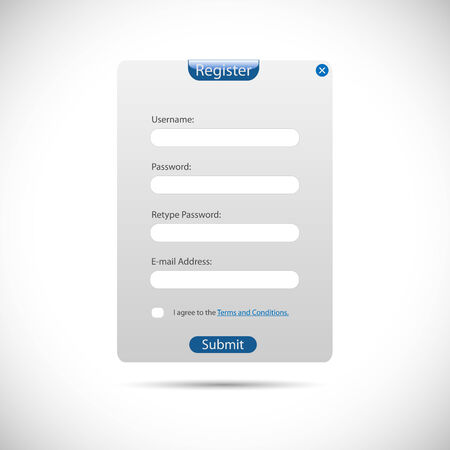 login form: Illustration of a web register panel isolated on a white background. Illustration