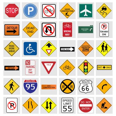 Illustratie van de verschillende verkeersborden geïsoleerd op een witte achtergrond.