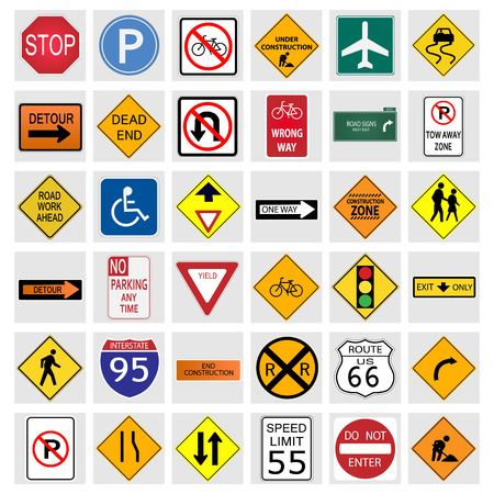 warn: Illustration of various road signs isolated on a white background.