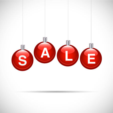 Illustration of ornaments with spelling the word SALE isolated on a white background.