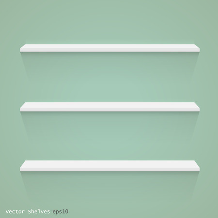 Image of white floating shelves against a colorful green background.