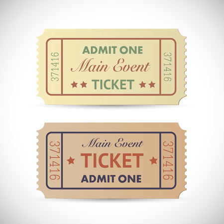 admit: Illustration of a vintage Admit One tickets isolated on a white background.