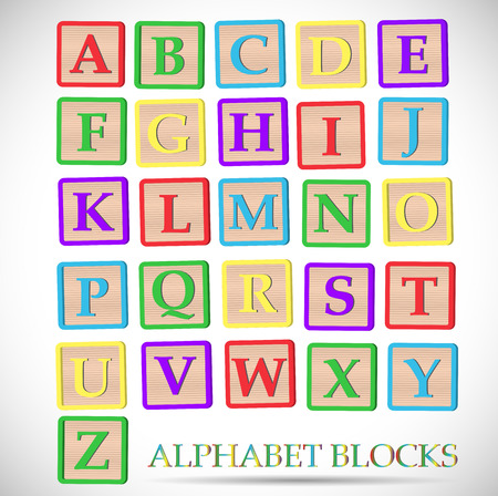 bright alphabet: Illustration of coloful alphabet blocks isolated on a white background.