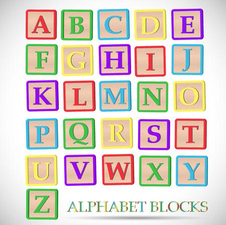 Ilustracja coloful bloków alfabetu na białym tle. Ilustracje wektorowe