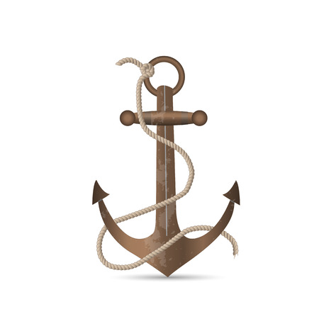 ship anchor: Illustration of an old anchor isolated on a white background.