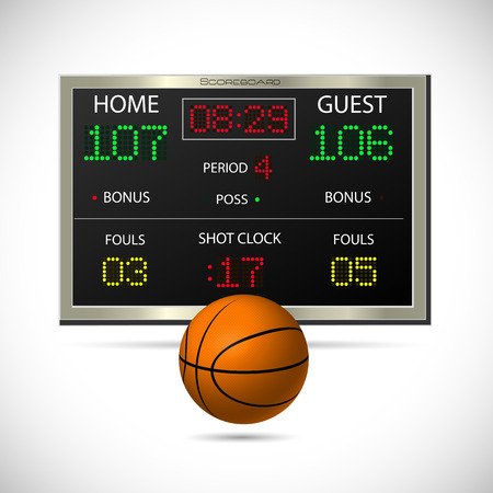 display type: Illustration of a basketball and scoreboard isolated on a white background.